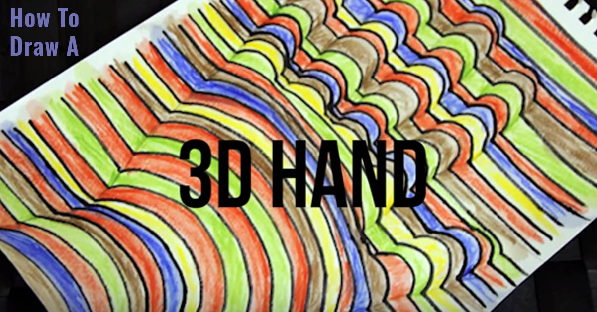 Cool Art Idea - How to Draw A 3-D Hand | Cool Art Tutorial for Kids, Teens and Adults | Step by Step Instructions for a Fun Quick Project