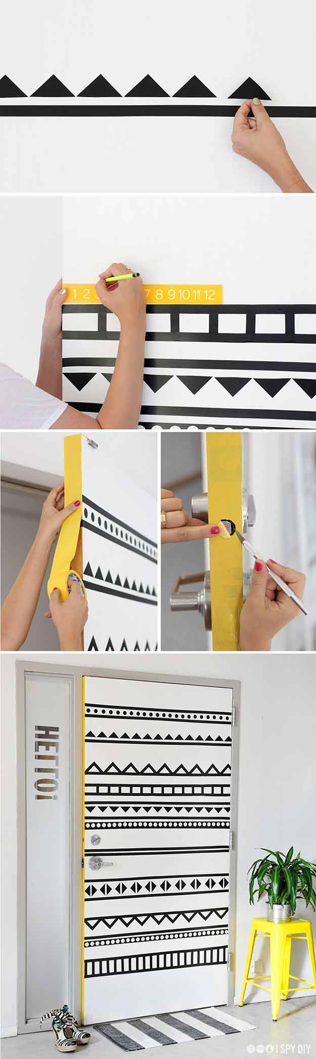 Cute Teen Bedroom Ideas for DIY Decor | DIY Door Art With Washi Tape | Cheap DIY Room Decor for Teens