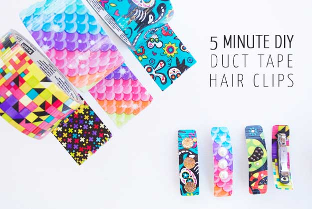 Cool Crafts You Can Make for Less than 5 Dollars | Cheap DIY Projects Ideas for Teens, Tweens, Kids and Adults | 5 Minute DIY Duct Tape Hair Clips | http://diyprojectsforteens.com/cheap-diy-ideas-for-teens/