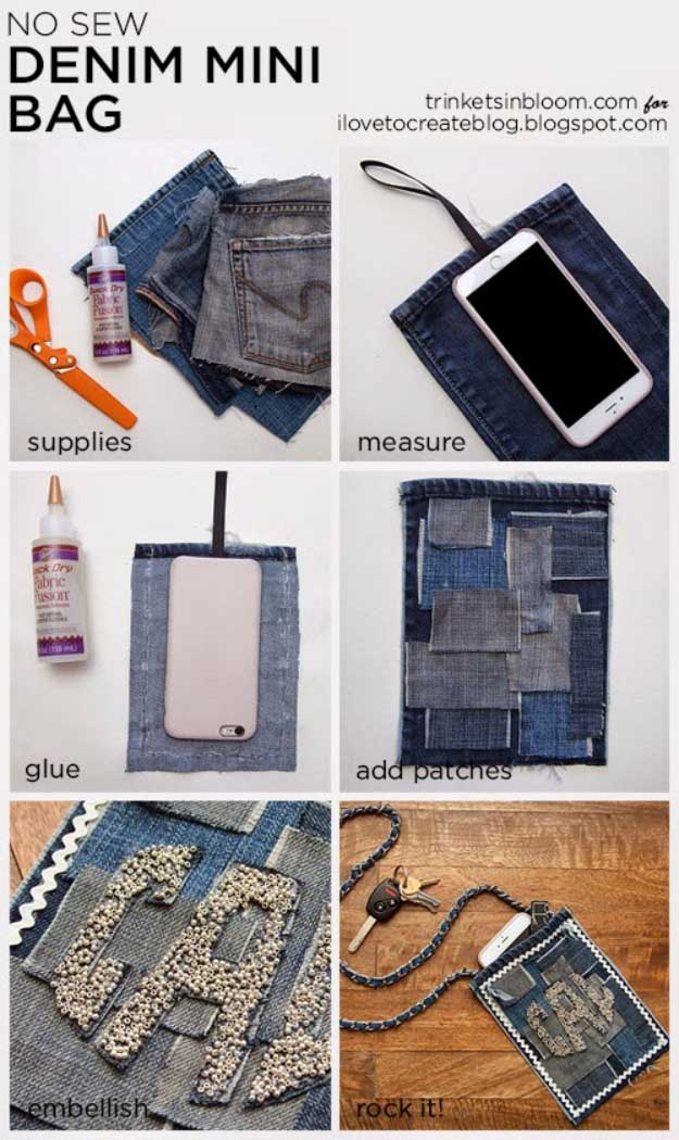 Cool Crafts You Can Make for Less than 5 Dollars | Cheap DIY Projects Ideas for Teens, Tweens, Kids and Adults | No Sew Denim Mini Bag | http://diyprojectsforteens.com/cheap-diy-ideas-for-teens/