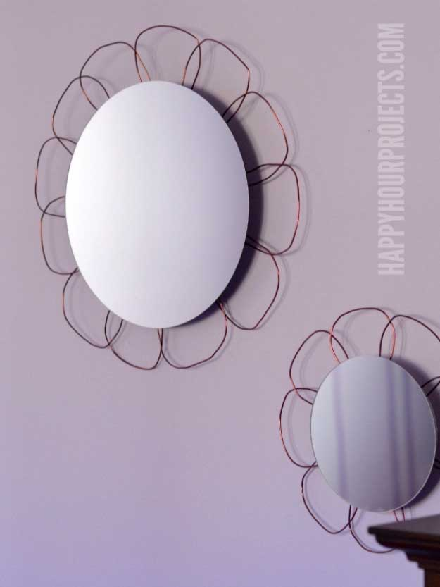 Cool Crafts You Can Make for Less than 5 Dollars | Cheap DIY Projects Ideas for Teens, Tweens, Kids and Adults | DIY Flower Mirror | http://diyprojectsforteens.com/cheap-diy-ideas-for-teens/