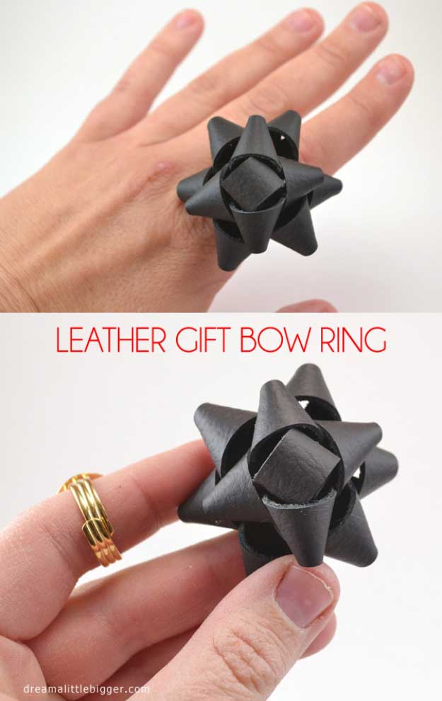 Cool Crafts You Can Make for Less than 5 Dollars | Cheap DIY Projects Ideas for Teens, Tweens, Kids and Adults | Leather Bow Ring Tutorial | http://diyprojectsforteens.com/cheap-diy-ideas-for-teens/