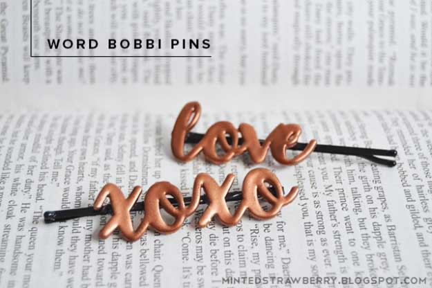 Cool Crafts You Can Make for Less than 5 Dollars | Cheap DIY Projects Ideas for Teens, Tweens, Kids and Adults | DIY Word Bobbi Pins | http://diyprojectsforteens.com/cheap-diy-ideas-for-teens/