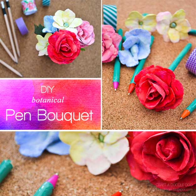 Cool Crafts You Can Make for Less than 5 Dollars | Cheap DIY Projects Ideas for Teens, Tweens, Kids and Adults | Botanical Pen Bouquet | http://diyprojectsforteens.com/cheap-diy-ideas-for-teens/