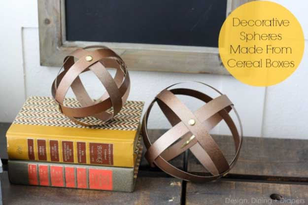 Cool Crafts You Can Make for Less than 5 Dollars | Cheap DIY Projects Ideas for Teens, Tweens, Kids and Adults | Industrial Decorative Spheres Made from Cereal Boxes | http://diyprojectsforteens.com/cheap-diy-ideas-for-teens/