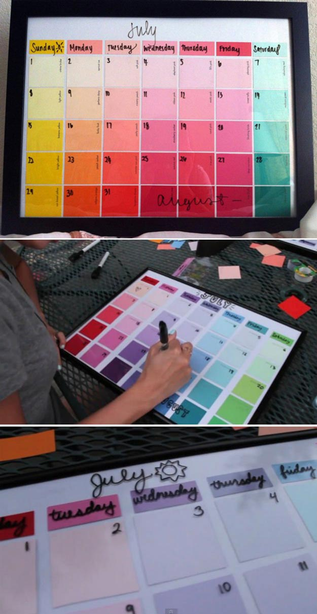 DIY Projects For Teens Bedroom Paint Chip Calendar