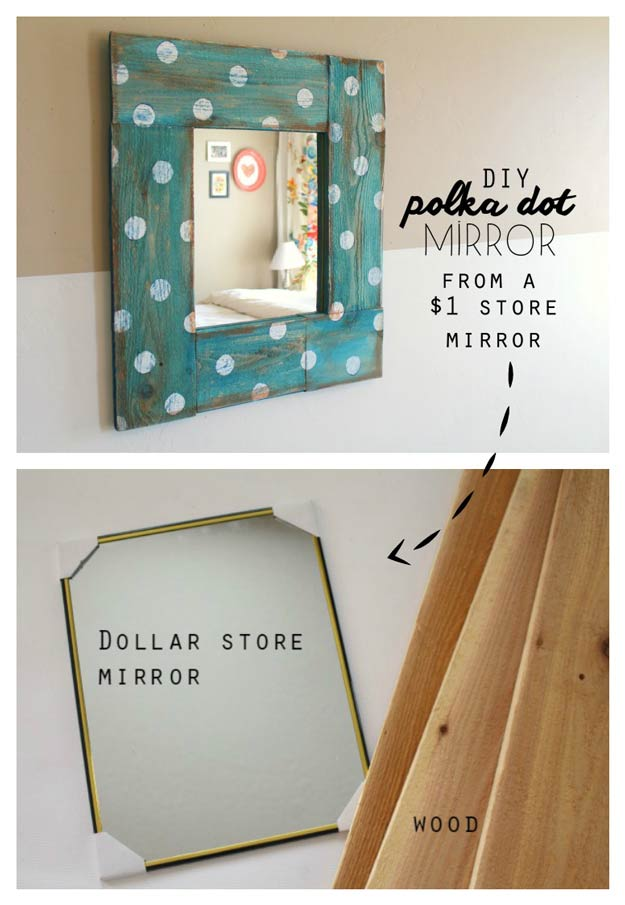 99 awesome crafts you can make for less than 5 cool crafts you can make for less than 5 dollars make a polka dot mirror solutioingenieria Choice Image
