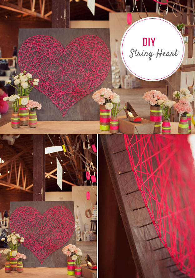diy string art heart tutorial cute diy bedroom decor ideas for teen girl rooms - Diy Bedroom Decor Ideas