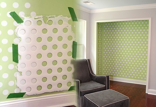 DIY Wall Art Ideas -Polka Dot Walls Using Laundry Basket