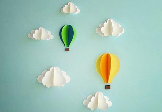 DIY Wall Art Ideas - Paper Hot Air Balloons