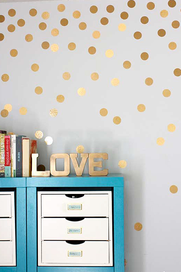 diy wall art ideas gold metallic dot walls - Cheap Decor