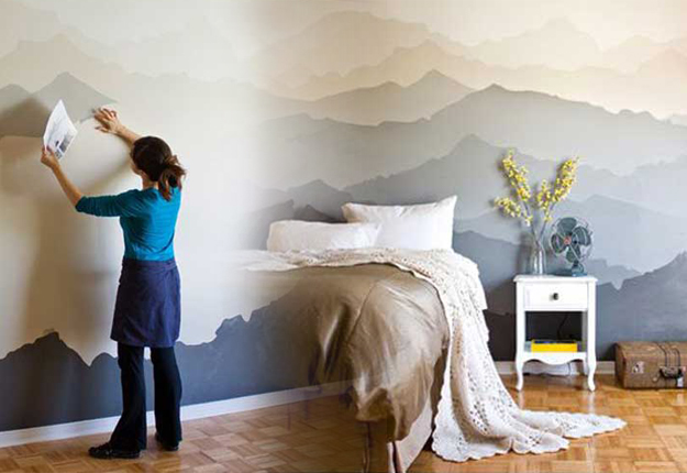 Cool cheap but cool diy wall art ideas for your walls for Diy mountain mural