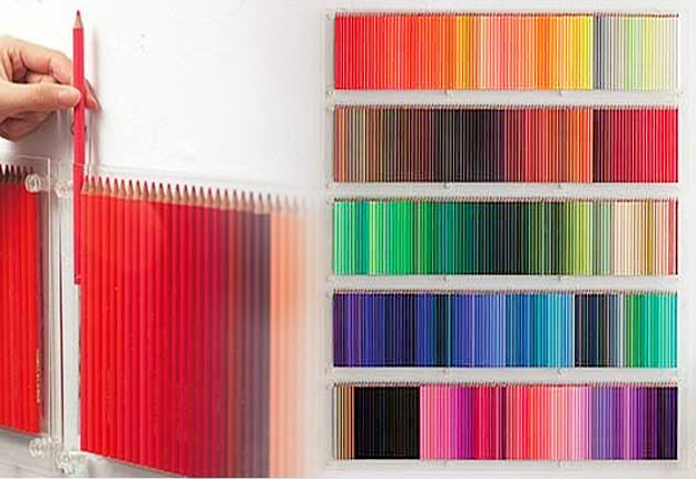 DIY Wall Art Ideas - Rainbow Colored Pencil Display