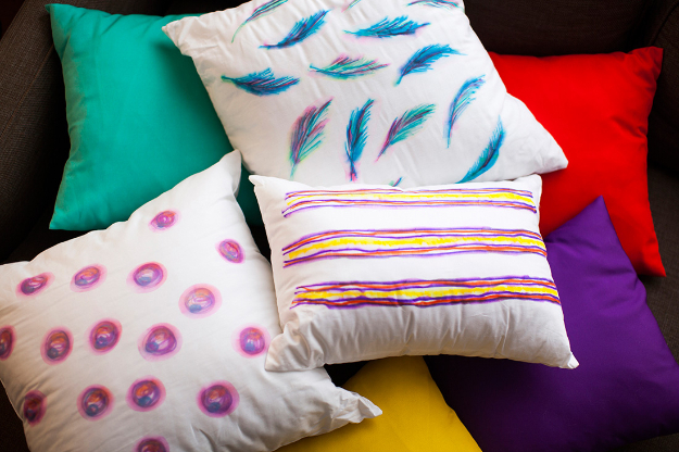 Cool DIY Sharpie Crafts Projects Ideas - Watercolor Inspired Pillow for Fun Home Decor