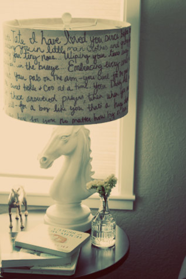 Cool DIY Sharpie Crafts Projects Ideas - Lampshade with Script
