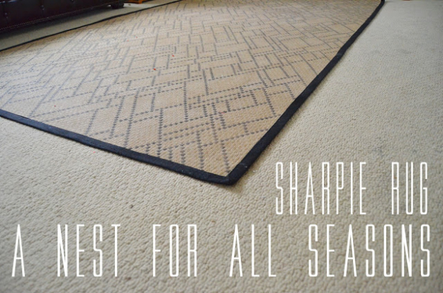 Cool DIY Sharpie Crafts Projects Ideas - Sharpie Patterned Rug for Awesome Home Decor On A Budget