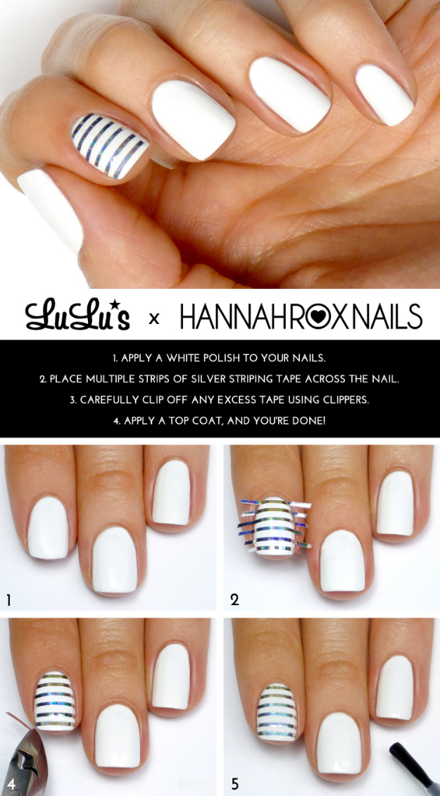 Cool Nail Art Ideas - Fun and Easy DIY Nail Designs - Step By Step Tutorials and Instructions for Manicures at Home - Silver and White Striped Nail Design Tutorial