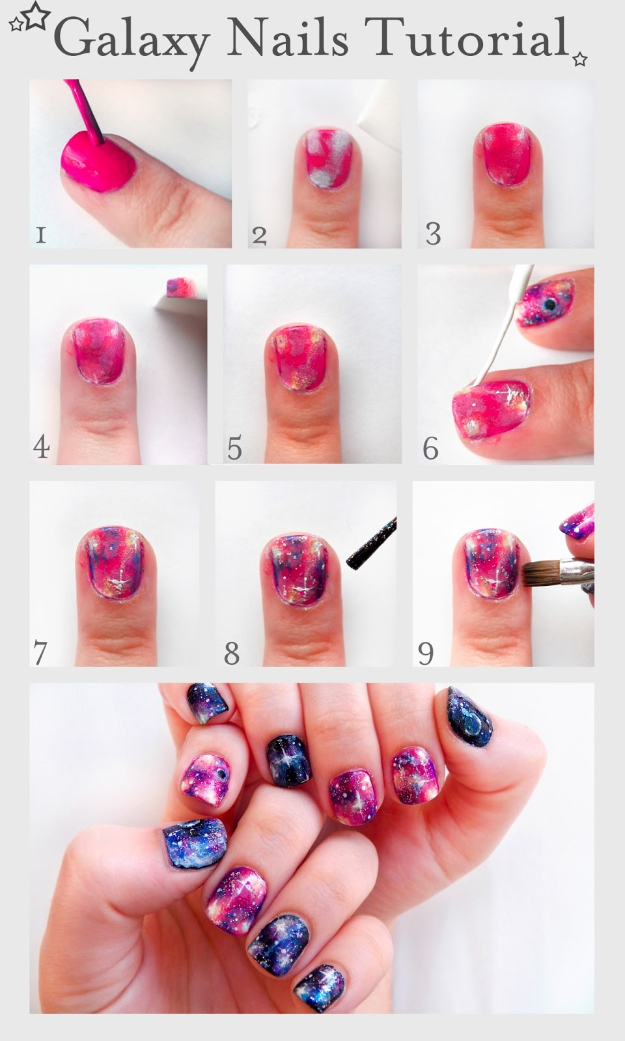 33 Cool Nail Art Ideas - Fun and Easy DIY Nail Designs - Step By Step Tutorials and Instructions for Manicures at Home - Scotch Tape Striped Manicure Nail Design Tutorial - Shooting Star Nail Design Tutorial - Ombre Gradient Step by Step Nail Design Tutorial- Galaxy Nails Step by Step Nail Design Tutorial