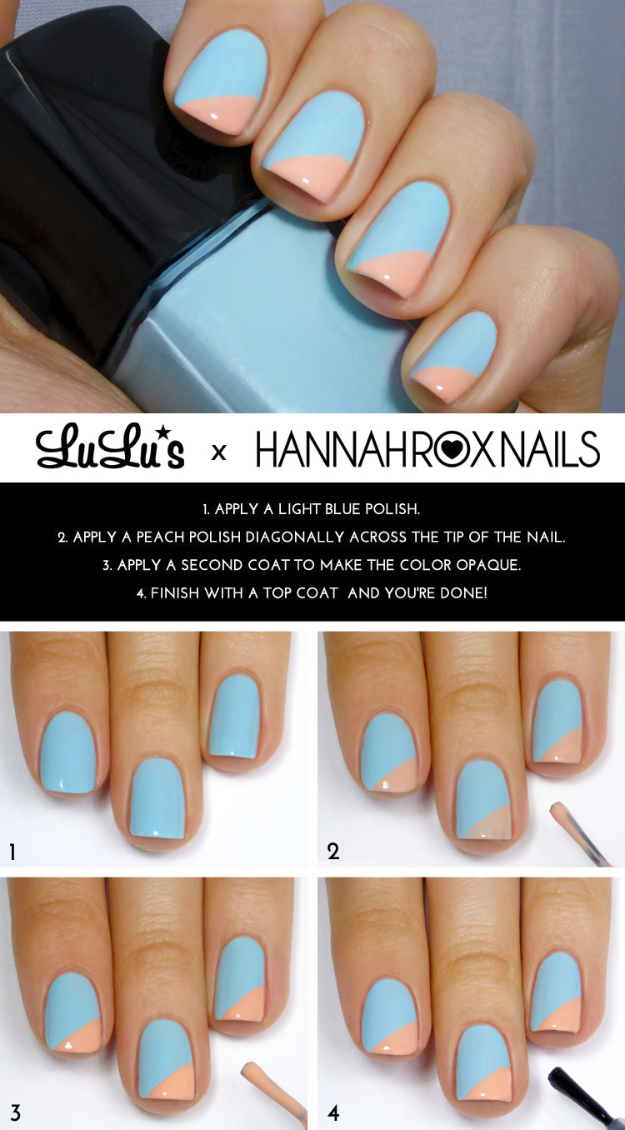 33 Cool Nail Art Ideas - Fun and Easy DIY Nail Designs - Step By Step Tutorials and Instructions for Manicures at Home - Scotch Tape Striped Manicure Nail Design Tutorial - Shooting Star Nail Design Tutorial - Ombre Gradient Step by Step Nail Design Tutorial- - Blue and Peach Angle Tip Step by Step Nail Design Tutorial