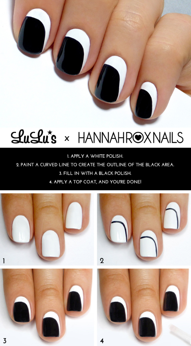 Cool Nail Art Ideas -Black and White Crescent Nails- Nail Polish Design Ideas- Candy Coat Stars and Stripes Nail Design Tutorial - Easy Nail Art Tutorials - Fun and Easy DIY Nail Designs - Step By Step Tutorials and Instructions for Manicures at Home