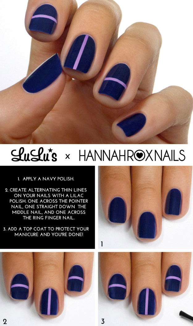 Cool Nail Art Ideas -Easy Navy Blue Stripe Nail Polish Design Ideas- Candy  Coat - 33 Cool Nail Art Ideas & Awesome DIY Nail Designs - DIY Projects For