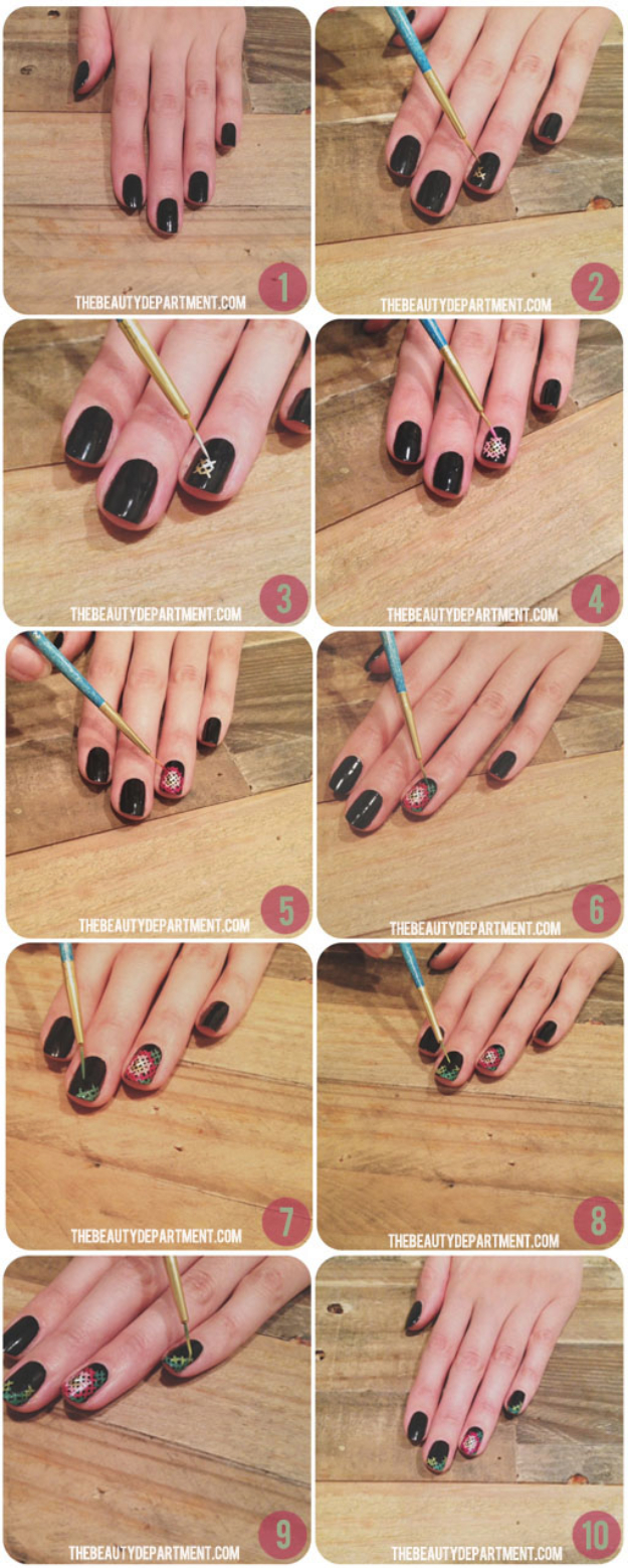 Cool Nail Art Ideas -Easy Needlepoint Nail Polish Ideas- Candy Coat Stars and Stripes Nail Design Tutorial - Easy Nail Art Tutorials - Fun and Easy DIY Nail Designs - Step By Step Tutorials and Instructions for Manicures at Home