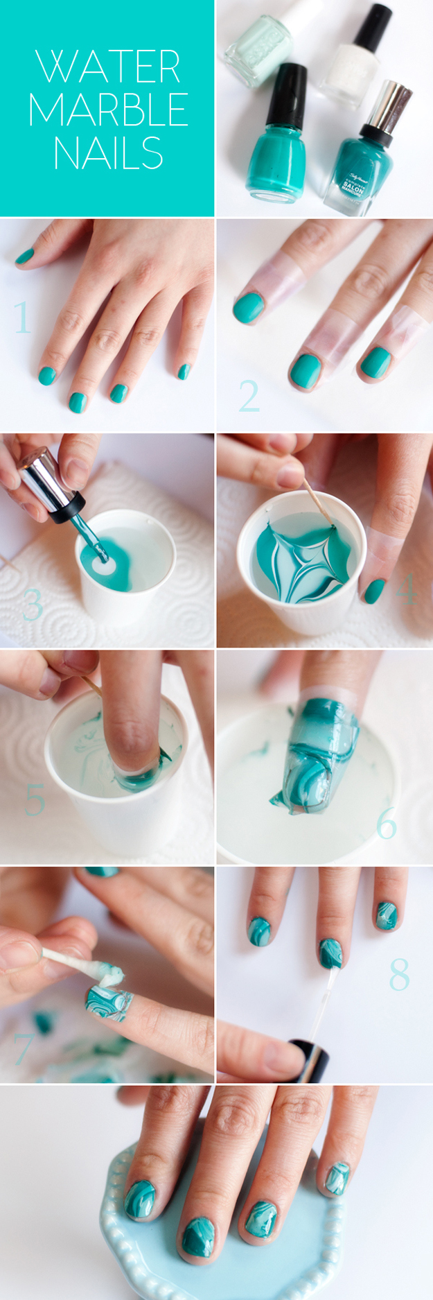Cool Nail Art Ideas - How to Do Water Marble Nails - Nail Tutorials for Teens and Adults - Fun for Teens and Tweens- Nail Polish Design Ideas and Art Tutorial - Easy DIY Nail Designs - Step By Step Tutorials and Instructions for Manicures at Home