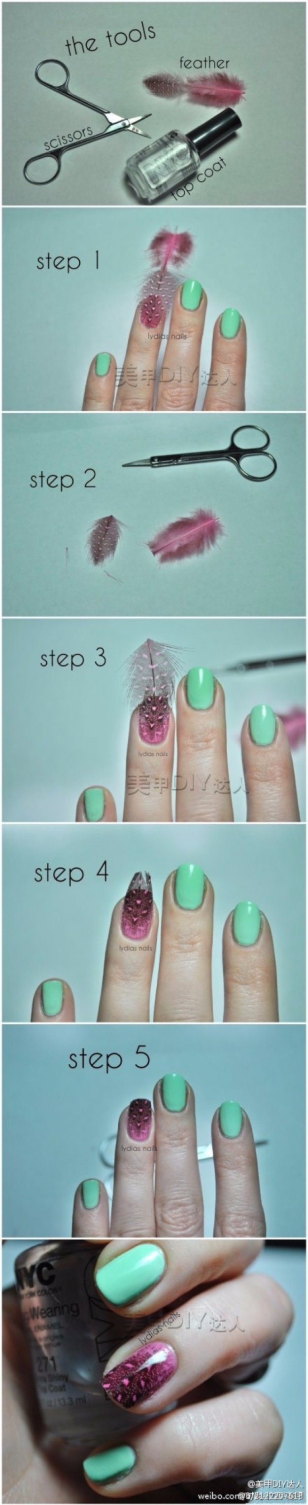 Cool Nail Art Ideas -Easy Feather Texture Nails - - Easy Nail Art Tutorials - Fun and Easy DIY Nail Designs - Step By Step Tutorials and Instructions for Manicures at Home
