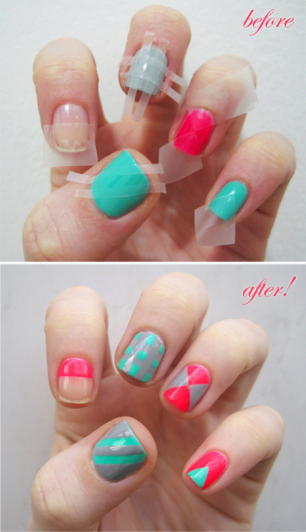 Cool Nail Art Ideas -Colorblock Nails With Scotch Tape- Easy Nail Art  Tutorials - - 33 Cool Nail Art Ideas & Awesome DIY Nail Designs - DIY Projects For