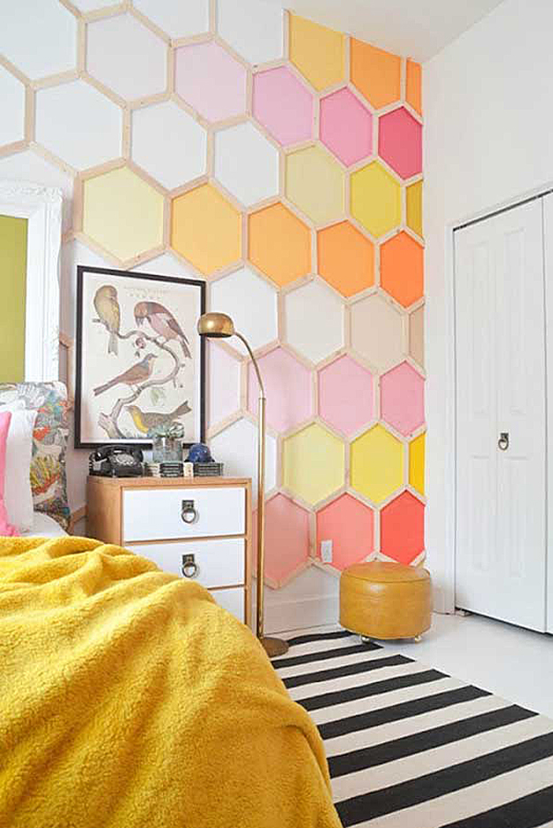 diy wall art ideas honeycomb patterned tiles for walls - Diy Bedroom Wall Decorating Ideas