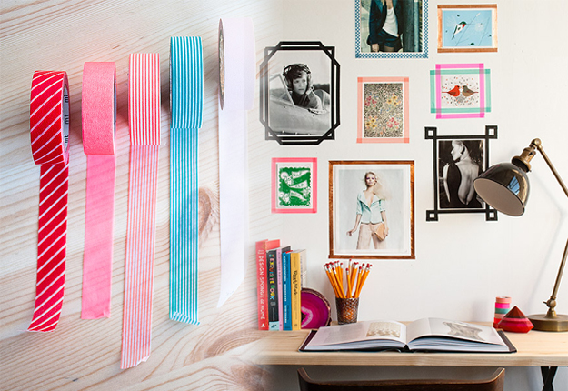 diy wall art ideas washi tape frames for photos - Diy Wall Decor Ideas For Bedroom