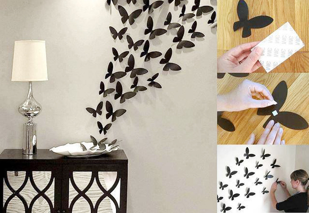 diy wall art ideas paper butterflies wall decor - Wall Art Design