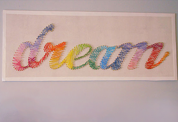 "DIY Wall Art Ideas - Rainbow String Art ""dream"""