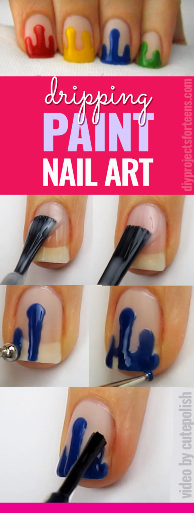 Cool Nail Art Ideas Dripping Paint Polish Fun For S And Tweens
