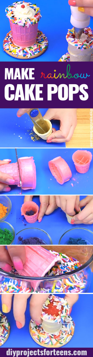 How To Make Rainbow Cake Pops - Rainbow Milkshake Cake Pop Dessert Recipe is Fun and Easy Idea