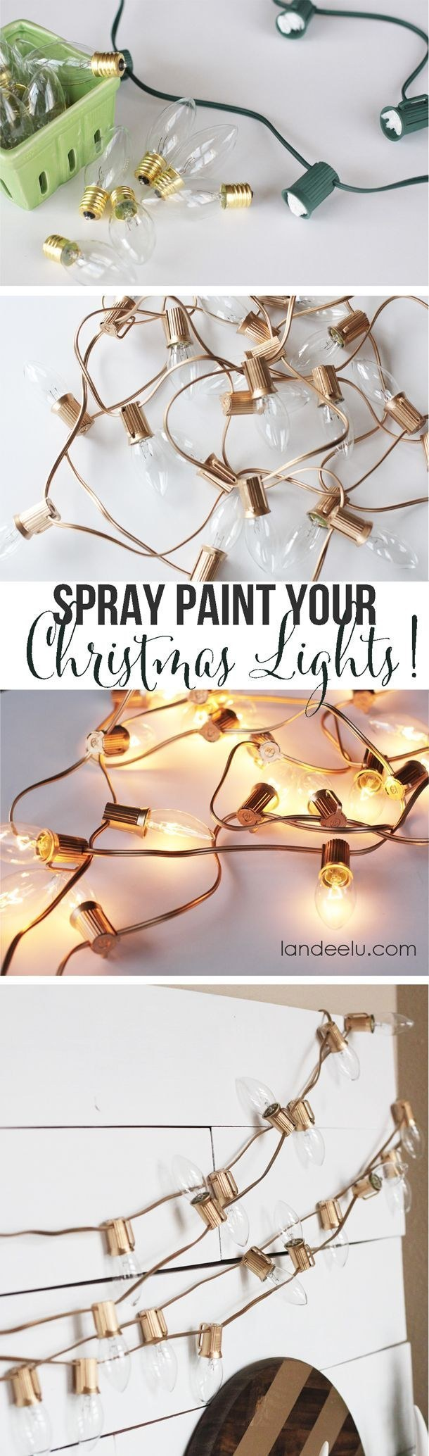 String Light DIY ideas for Cool Home Decor | Spray Painted Christmas Lights are Fun for Teens Room, Dorm, Apartment or Home #teencrafts #cheapcrafts #diylights