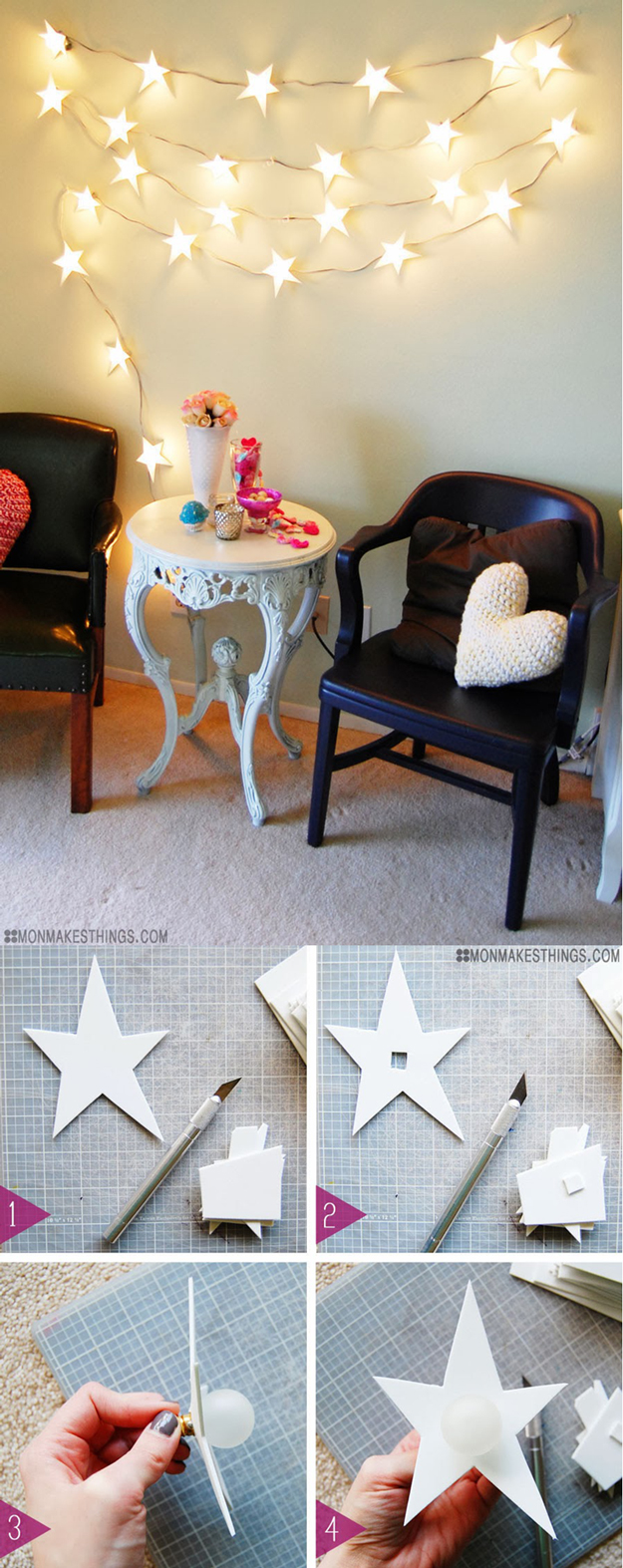 Awesome DIY String Light Ideas DIY Projects For Teens - Star lights in bedroom