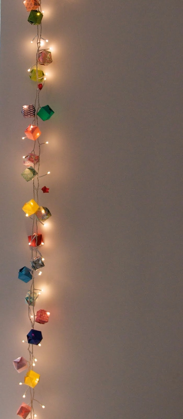 String Light DIY ideas for Cool Home Decor | Origami Garland Hanging Lights are Fun for Teens Room, Dorm, Apartment or Home | http://diyprojectsforteens.com/diy-string-light-ideas/