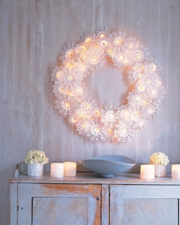 33 awesome diy string light ideas string light diy ideas for cool home decor paper doily wreath lights are fun for solutioingenieria Images