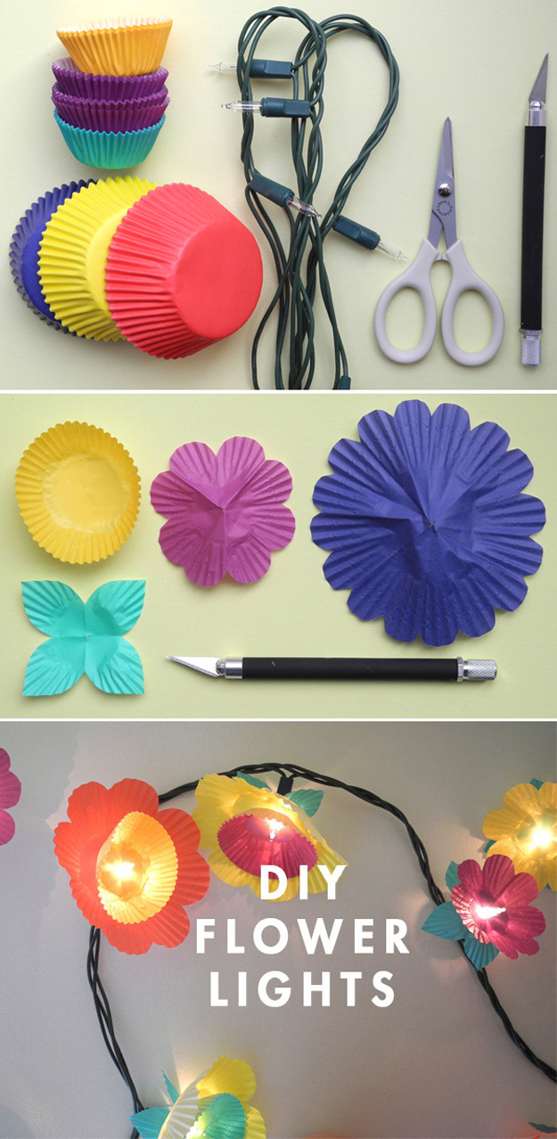 string light diy ideas for cool home decor cup cake flower lights are fun for - Home Decor Craft Ideas