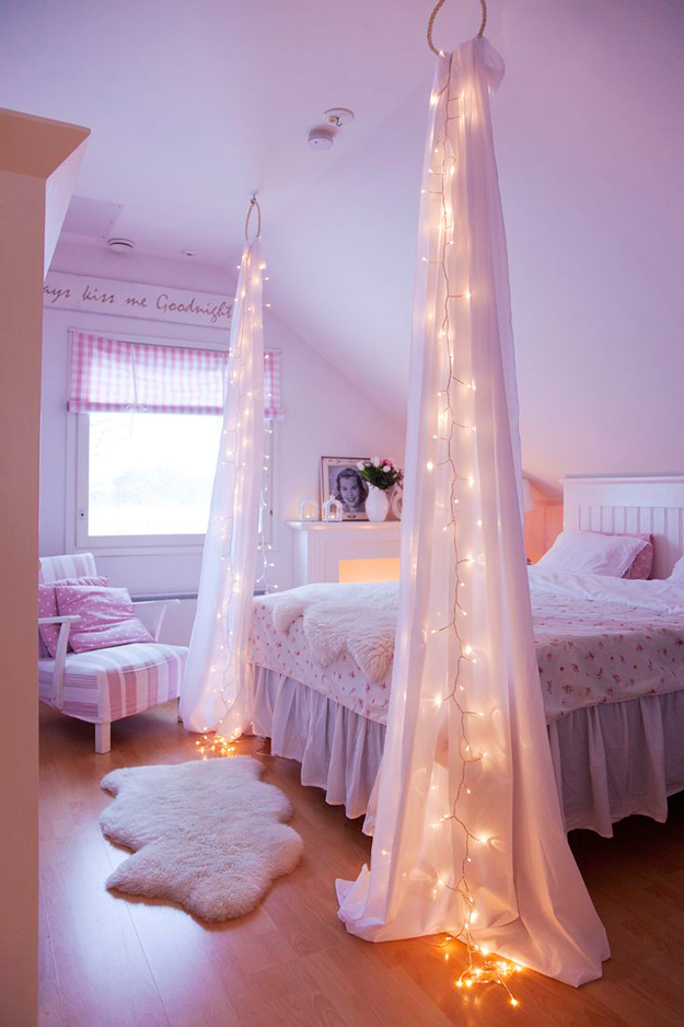 string light diy ideas for cool home decor starry bed post are fun for teens - Home Decor Lights
