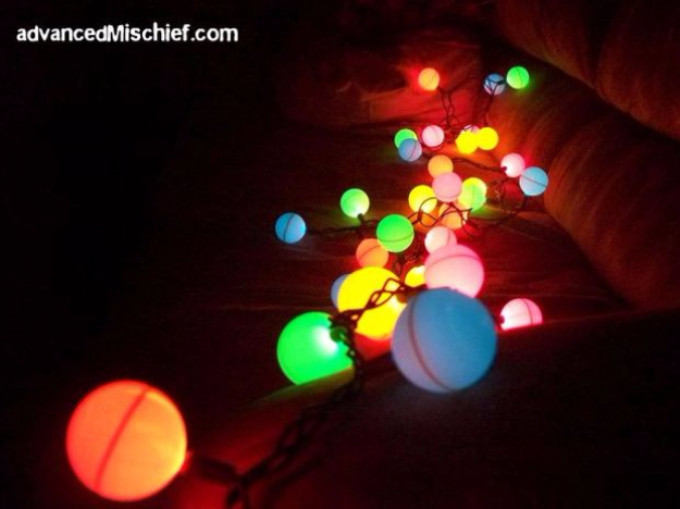 String Light DIY ideas for Cool Home Decor | Ping Pong Ball Lights are Fun for Teens Room, Dorm, Apartment or Home #teencrafts #cheapcrafts #diylights/