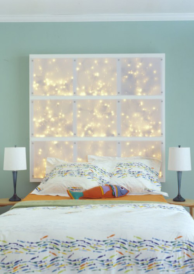 String Light DIY ideas for Cool Home Decor | LED String Light Headboard are Fun for Teens Room, Dorm, Apartment or Home | http://diyprojectsforteens.com/diy-string-light-ideas/