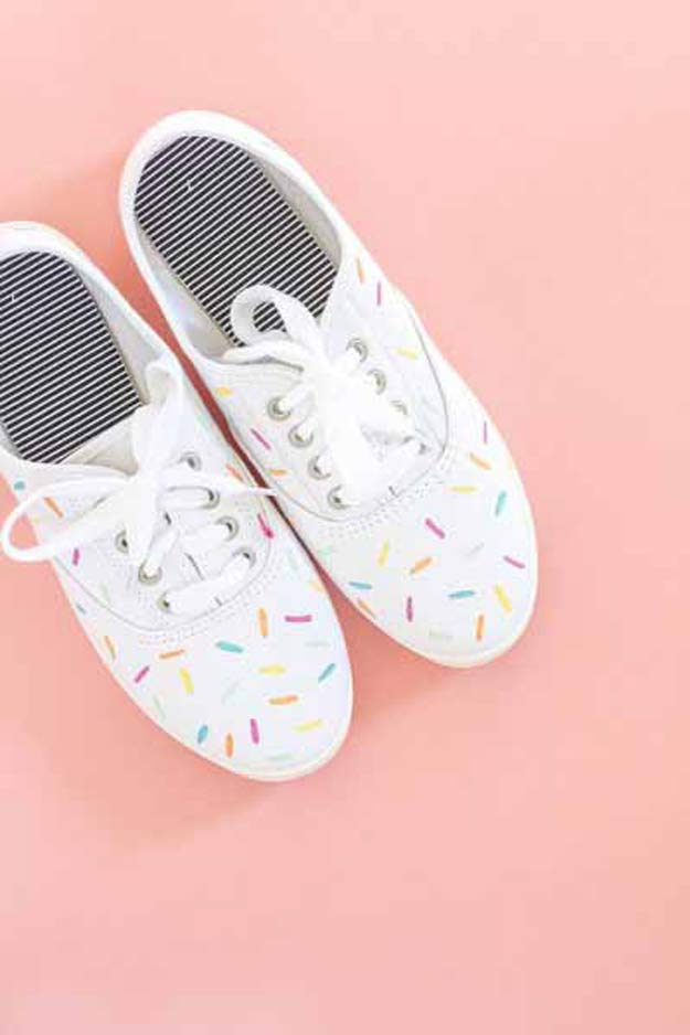 Cool Crafts for Teen Girls - Best DIY Projects for Teenage Girls - DIY Painted Ice Cream Sprinkle Shoes #teencrafts #diyteens #coolcrafts #crafts #diyideas
