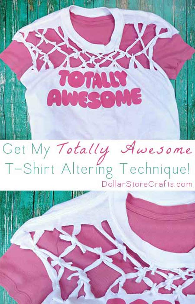 Cool Crafts for Teen Girls - Best DIY Projects for Teenage Girls - Knotted T-shirt - http://diyprojectsforteens.com/cool-crafts-for-teen-girls/