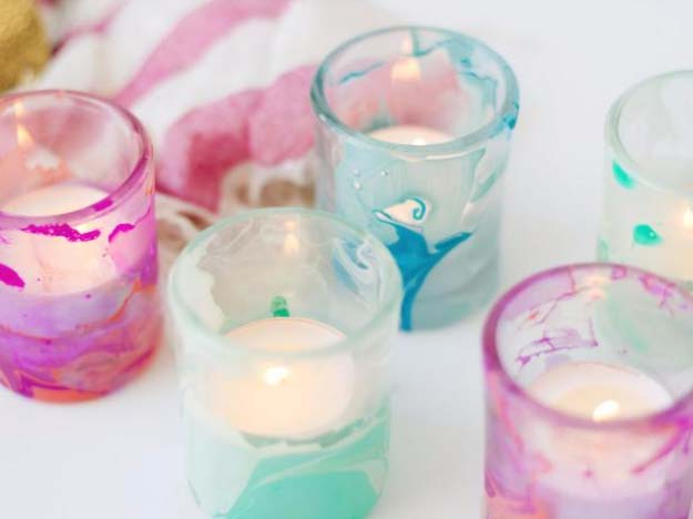 Cool Crafts for Teen Girls - Best DIY Projects for Teenage Girls - Use Nail Polish to Create Marbled Votives - http://diyprojectsforteens.com/cool-crafts-for-teen-girls/