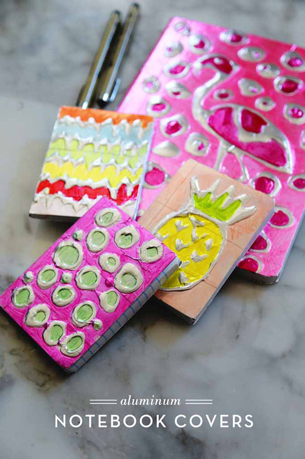Cool Crafts for Teen Girls - Best DIY Projects for Teenage Girls - Aluminum Notebook Covers - http://diyprojectsforteens.com/cool-crafts-for-teen-girls/