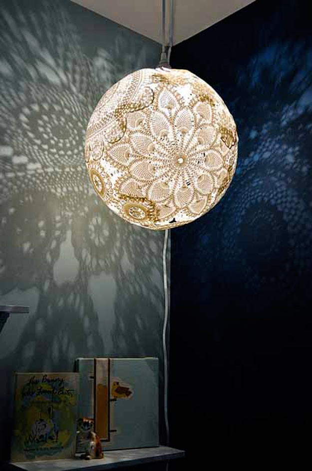 Cool Crafts for Teen Girls - Best DIY Projects for Teenage Girls - Hand Crafted Doily Lamp - http://diyprojectsforteens.com/cool-crafts-for-teen-girls/