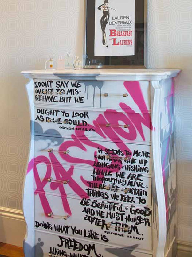 Cool Crafts for Teen Girls - Best DIY Projects for Teenage Girls - Dresser with Quotes - http://diyprojectsforteens.com/cool-crafts-for-teen-girls/