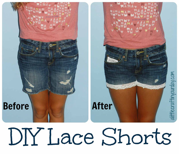 Cool Crafts for Teen Girls - Best DIY Projects for Teenage Girls - DIY Lace Shorts - http://diyprojectsforteens.com/cool-crafts-for-teen-girls/
